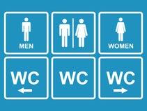 Icône masculine et femelle de carte de travail dénotant la toilette, toilettes Images stock