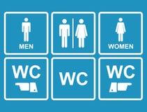 Icône masculine et femelle de carte de travail dénotant la toilette, toilettes Image libre de droits