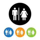 Icône masculine et femelle de symbole de toilettes Photos libres de droits