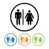Icône masculine et femelle de symbole de toilettes Image libre de droits
