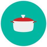 Icône mignonne de pot dans le style plat à la mode sur le fond de couleur Symbole de vaisselle de cuisine pour votre conception,  Photos libres de droits
