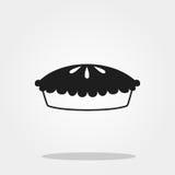Icône mignonne de tarte de potiron dans le style plat à la mode d'isolement sur le fond de couleur Photographie stock