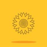 Icône mignonne de tournesol dans le style plat à la mode d'isolement sur le fond de couleur Images libres de droits