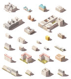 Icône minimalistic isométrique de vecteur basse poly réglée ou maisons et bureaux infographic de ville d'éléments de carte bâtime Images stock