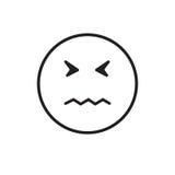 Icône négative triste d'émotion de personnes de visage de bande dessinée illustration libre de droits