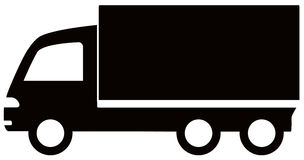 Icône noire d'isolement de camion Photos libres de droits