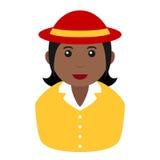 Icône noire de Girl Avatar Flat d'agriculteur sur le blanc Photographie stock libre de droits