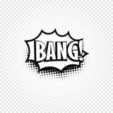 Icône noire et blanche abstraite d'isolement de ballon de la parole de bandes dessinées de couleur sur le fond à carreaux, zone d Images stock