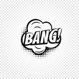 Icône noire et blanche abstraite d'isolement de ballon de la parole de bandes dessinées de couleur sur le fond à carreaux, zone d Photos stock