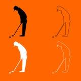 Icône noire et blanche d'ensemble de golfeur illustration libre de droits