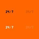 24/7 icône noire et blanche d'ensemble de service Image stock