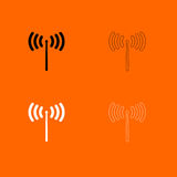 Icône noire et blanche d'ensemble de signal radio Images libres de droits