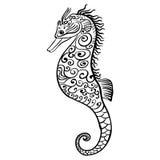 Icône noire et blanche stylisée d'un hippocampe illustration libre de droits