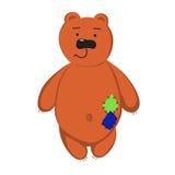Icône noire mignonne d'ours de nounours avec sur le fond blanc Image stock