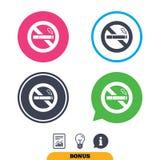 Icône non-fumeurs de signe Symbole de cigarette Photos stock