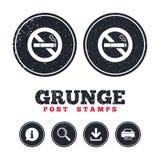 Icône non-fumeurs de signe Symbole de cigarette Photo libre de droits