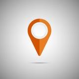 Icône orange colorée d'indicateur de carte Élément de vecteur Photos stock