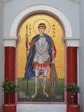 Icône orthodoxe grecque en dehors d'église, Grèce photographie stock libre de droits