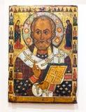Icône orthodoxe russe antique de Saint Nicolas Photographie stock libre de droits