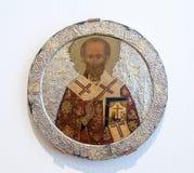 Icône orthodoxe russe antique de Saint Nicolas Images libres de droits