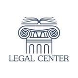 Icône ou emblème d'isolement par vecteur central juridique Photo stock