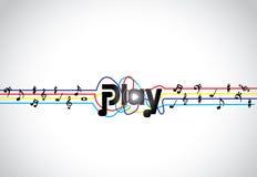 Icône ou symbole à la mode de jeu de musique avec l'art rougeoyant des textes de jeu avec des tons et des notes colorés Images stock
