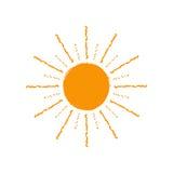 Icône ou symbole du soleil de vecteur D'isolement sur le fond blanc Photographie stock libre de droits