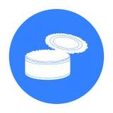 Icône ouverte de boîte en fer blanc en métal dans le style noir d'isolement sur le fond blanc Vecteur d'actions de symbole de déc Images libres de droits