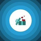 Icône plate actuelle L'élément de vecteur de cadeau peut être employé pour le coeur, cadeau, concept de construction de ruban Photos stock