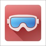 Icône plate avec les lunettes classiques de ski de surf des neiges Photos stock