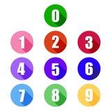Icône plate colorée de nombres Photographie stock