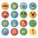 Icône plate d'animaux de ferme avec la longue ombre Image stock