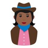 Icône plate d'avatar noir de cow-girl sur le blanc Illustration Stock