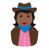 Icône plate d'avatar noir de cow-girl sur le blanc Photos stock