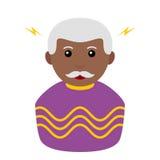 Icône plate d'avatar noir de magicien sur le blanc illustration de vecteur