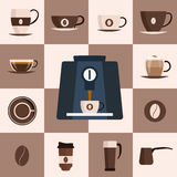 Icône plate d'ensemble de café Ensemble de conception Illustration de vecteur Image stock