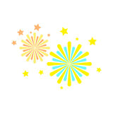 Icône plate d'explosion de feux d'artifice, signe de vecteur Photos libres de droits