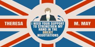 Icône plate d'homme avec la citation de Theresa May Photographie stock libre de droits
