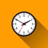 Icône plate d'horloge avec la longue ombre, illustration de vecteur Image libre de droits