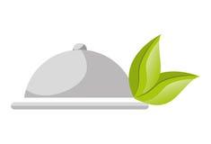 Icône plate d'isolement par nourriture saine Image stock