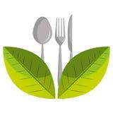 Icône plate d'isolement par nourriture saine Photo stock
