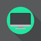 Icône plate d'ordinateur de bureau Le bouton coloré rond, montrent le signe circulaire de vecteur, illustration de logo Image stock