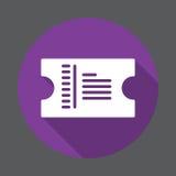 Icône plate de billet Bouton coloré rond, signe circulaire de vecteur avec le long effet d'ombre Conception plate de style illustration stock