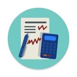 Icône plate de comptabilité Bouton coloré rond, signe circulaire de vecteur illustration libre de droits