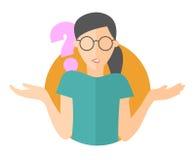 Icône plate de conception Jolie fille dans des doutes en verre Femme avec un point d'interrogation Illustration d'isolement simpl illustration stock