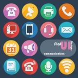 Icône plate de conception réglée - communication Photo libre de droits