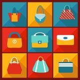 Icône plate de couleur de sac de mode Image stock