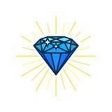 Icône plate de diamant moderne Idée brillante Solutions futées Conception plate de vecteur avec des lignes illustration libre de droits