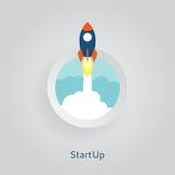 Icône plate de fusée Photo libre de droits
