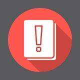 Icône plate de livre de point d'exclamation Bouton coloré rond, signe circulaire de vecteur avec le long effet d'ombre illustration stock
